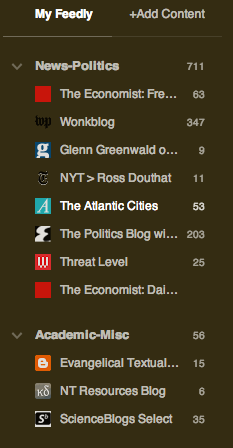 "These are some of my ""secular"" site subscriptions."